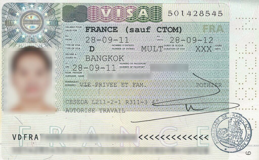 Долгосрочная виза во Францию, виза D